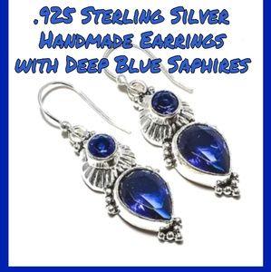 💎REAL Blue Saphire Dangle Handmade Earrings. 925